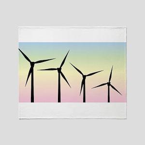 Wind Farm Morning Throw Blanket