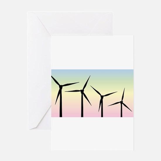 Wind Farm Morning Greeting Cards