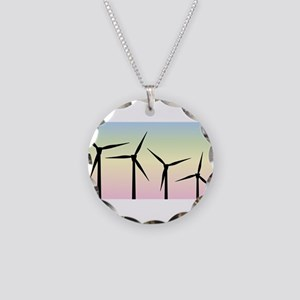 Wind Farm Morning Necklace Circle Charm