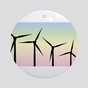 Wind Farm Morning Round Ornament