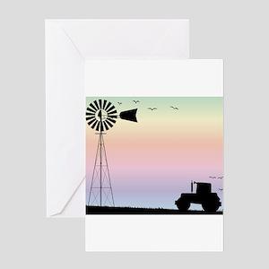 Farm Morning Sky Greeting Cards