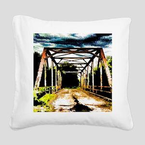 Rusty Old Bridge Square Canvas Pillow