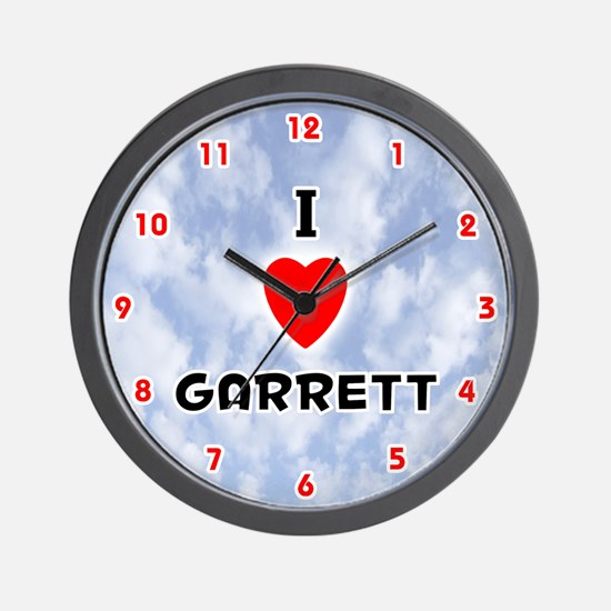 I Love Garrett (Red/Blk) Valentine Wall Clock