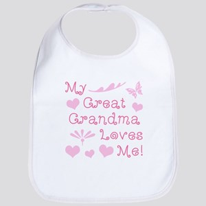 GreatGrandma Loves Me Baby Bib
