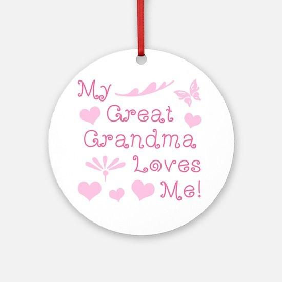 GreatGrandma Loves Me Round Ornament