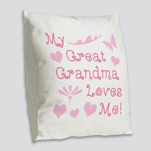 GreatGrandma Loves Me Burlap Throw Pillow