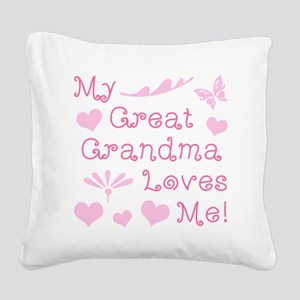 GreatGrandma Loves Me Square Canvas Pillow