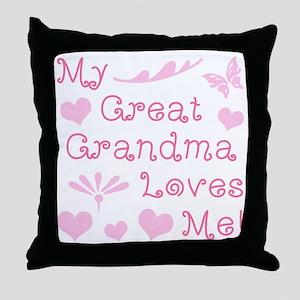 GreatGrandma Loves Me Throw Pillow