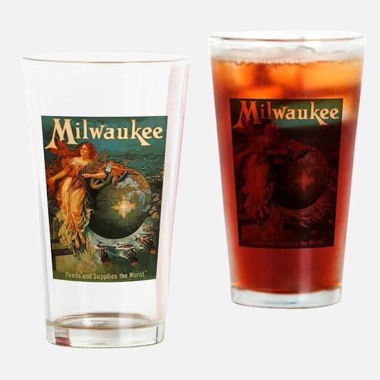 Milwaukee Feeds World Drinking Glass