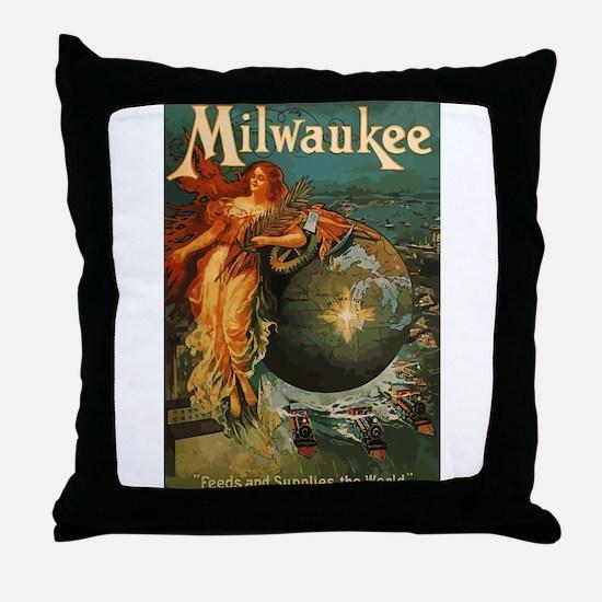 Milwaukee Feeds World Throw Pillow