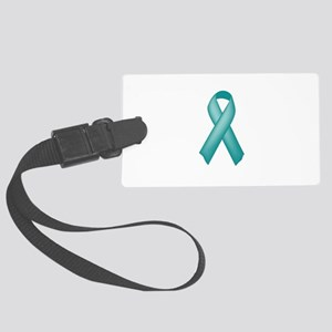 Teal awareness ribbon Large Luggage Tag