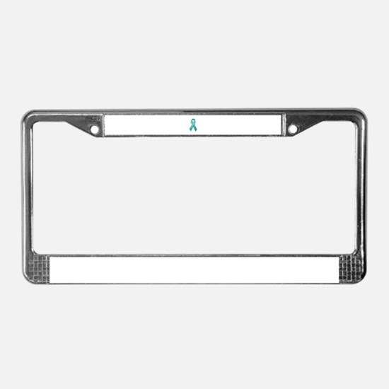 Teal awareness ribbon License Plate Frame