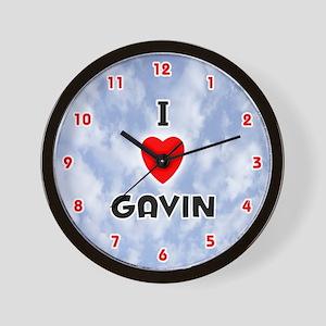 I Love Gavin (Red/Blk) Valentine Wall Clock
