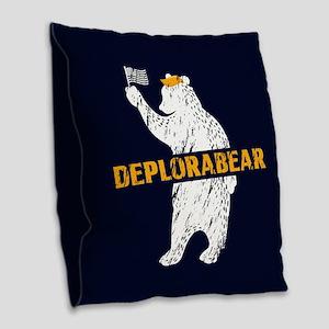 Deplorabear Trump Burlap Throw Pillow