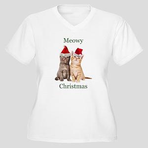 Meowy Christmas Kitten Shirt Plus Size T-Shirt