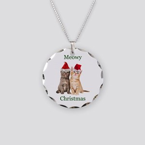 Meowy Christmas Kitten Necklace Circle Charm