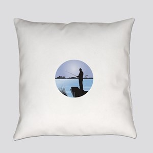 Silhouette of Fisherman at Lakesid Everyday Pillow