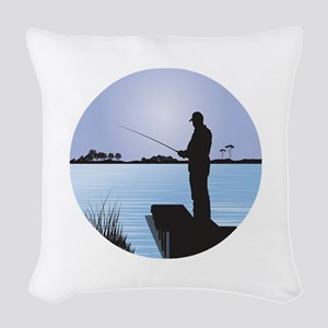 Silhouette of Fisherman at Lak Woven Throw Pillow