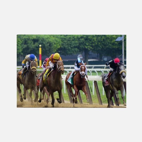 Cute Horse racing Rectangle Magnet
