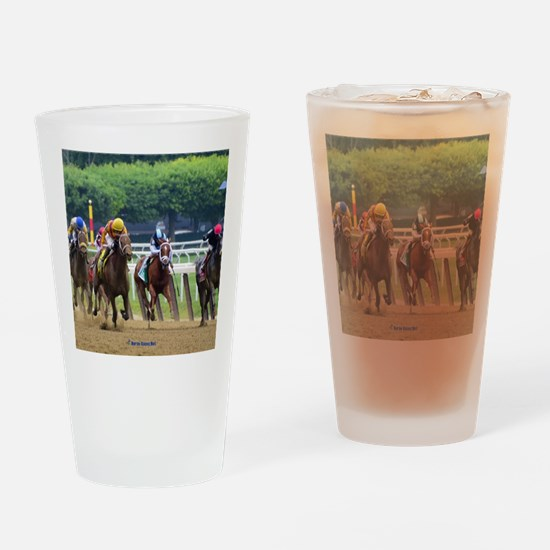 Cute Race horses Drinking Glass