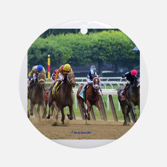 Cute Horse racing Round Ornament
