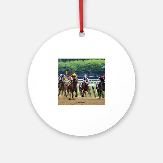 Cute Race horses Round Ornament