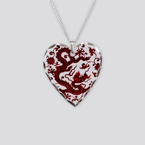 Chinese Red Dragon Necklace Heart Charm