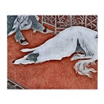 Art Deco Borzoi Throw Blanket