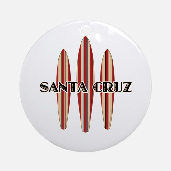 Santa Cruz Surf Boards Round Ornament