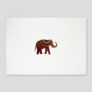 Yellow & Orange Metallic Elephant 5'x7'Area Rug