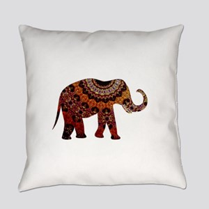 Yellow & Orange Metallic Elephant Everyday Pillow