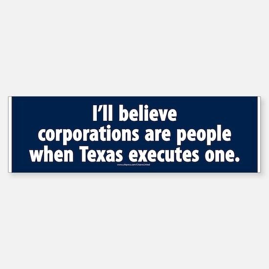 Texas Executes Corporations Bumper Car Car Sticker