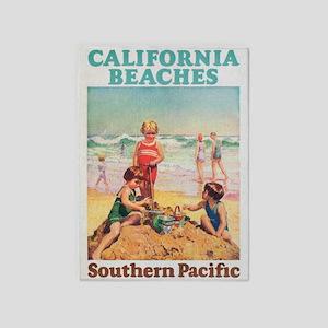 California Beaches Vintage Travel 5'x7'are