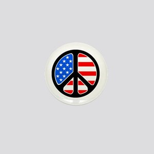 American Flag Peace Symbol Mini Button