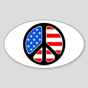 American Flag Peace Symbol Sticker (Oval)