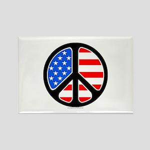 American Flag Peace Symbol Rectangle Magnet