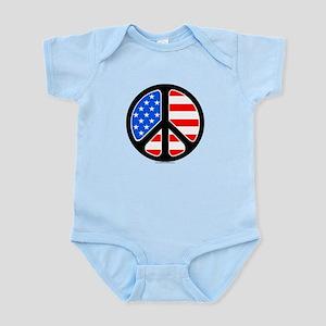 American Flag Peace Symbol Infant Bodysuit