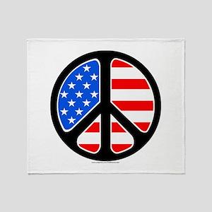 American Flag Peace Symbol Throw Blanket