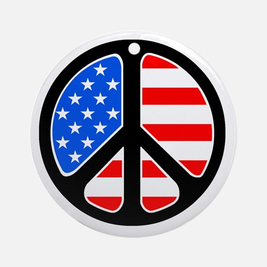 American Flag Peace Symbol Ornament (Round)