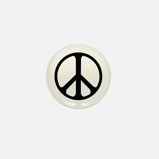 Black On White Peace Symbol Mini Button