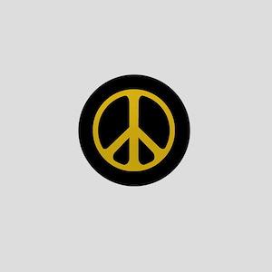 Gold On Black Peace Symbol Mini Button