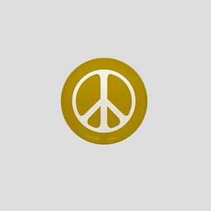 White On Gold Peace Symbol Mini Button