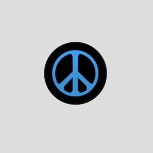 Blue On Black Peace Symbol Mini Button