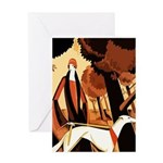 Art Deco Borzoi Greeting Cards