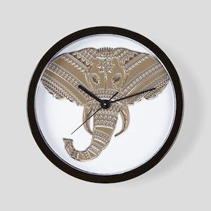 Silver Metallic Elephant Head Wall Clock