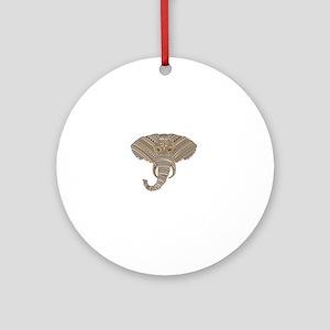 Silver Metallic Elephant Head Round Ornament