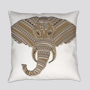 Silver Metallic Elephant Head Everyday Pillow