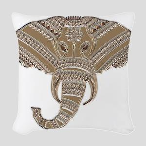 Silver Metallic Elephant Head Woven Throw Pillow