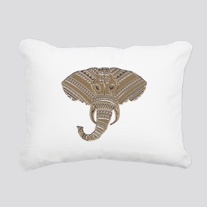Silver Metallic Elephant Rectangular Canvas Pillow