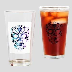Blue & Purple Sugar Skull Drinking Glass